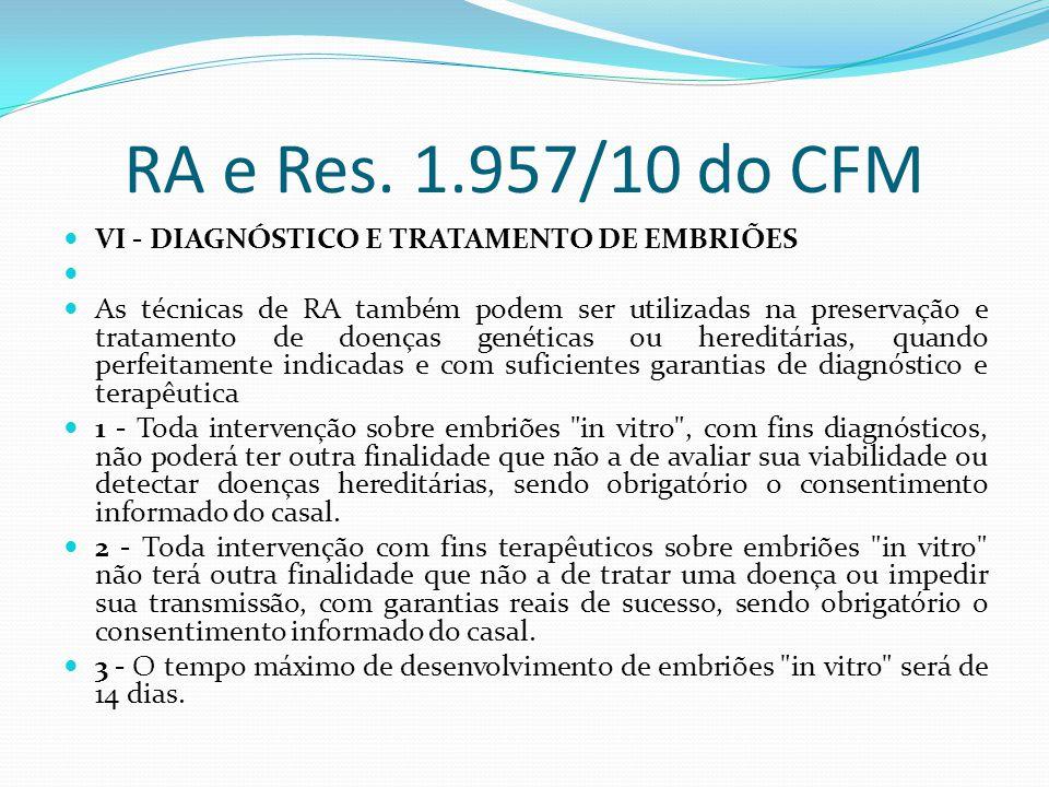 RA e Res. 1.957/10 do CFM VI - DIAGNÓSTICO E TRATAMENTO DE EMBRIÕES