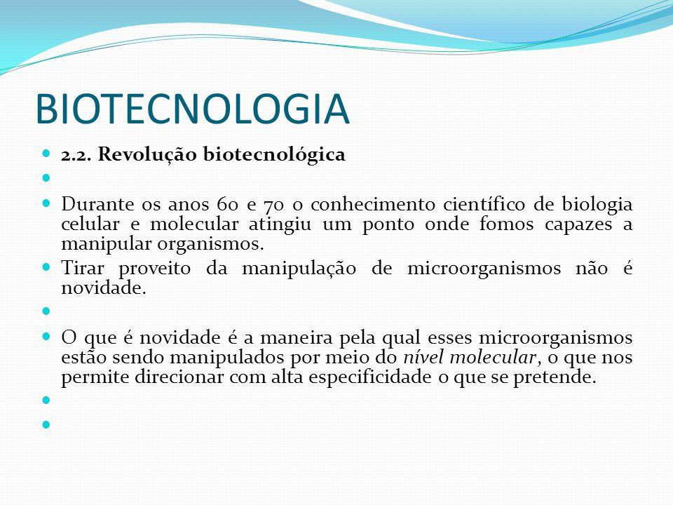 BIOTECNOLOGIA 2.2. Revolução biotecnológica