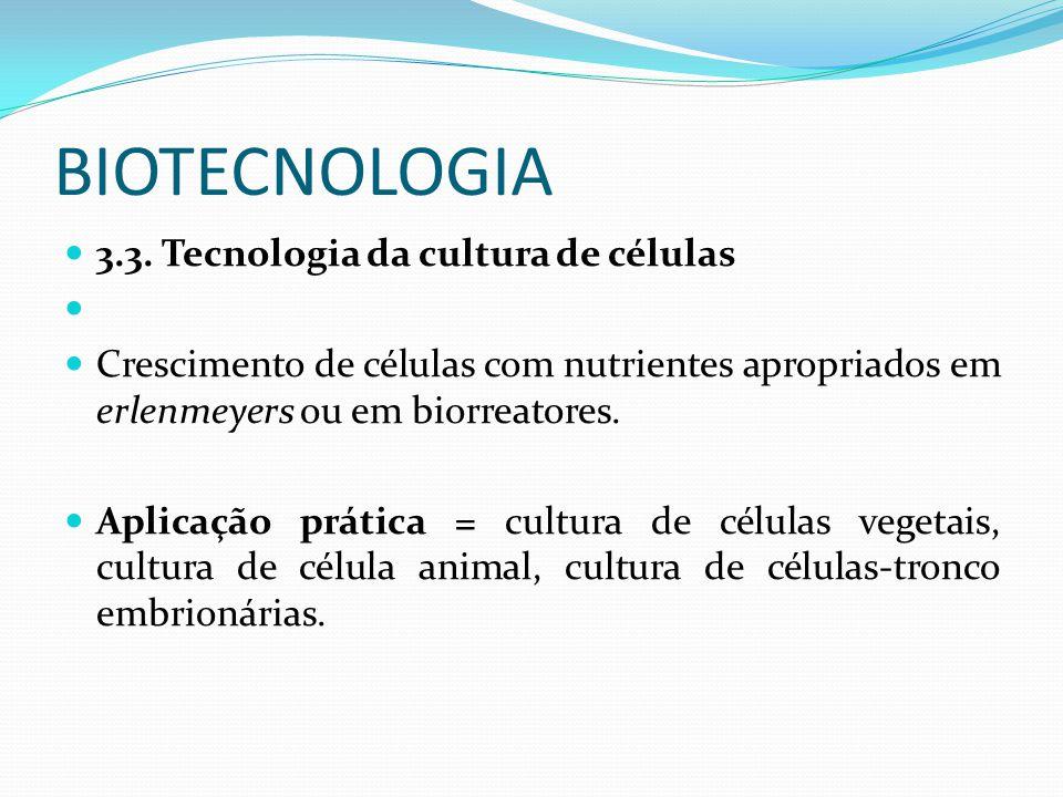 BIOTECNOLOGIA 3.3. Tecnologia da cultura de células