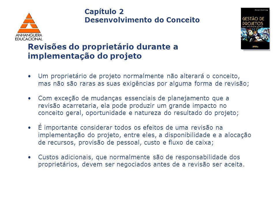 Revisões do proprietário durante a implementação do projeto