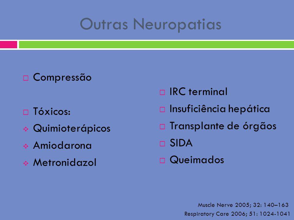 Outras Neuropatias Compressão Tóxicos: IRC terminal Quimioterápicos