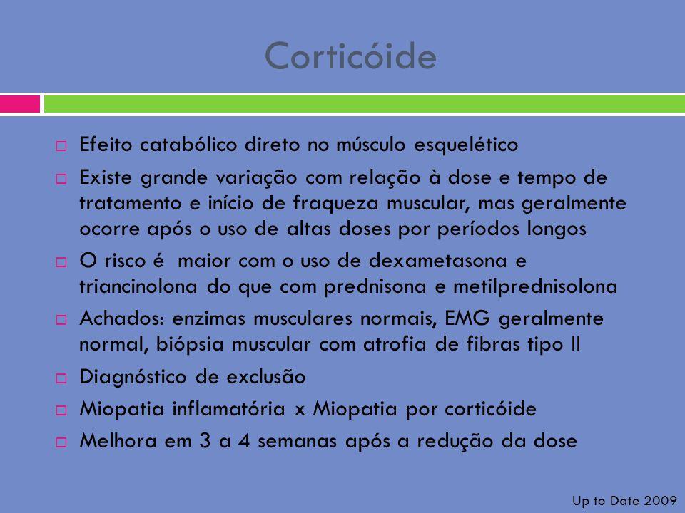 Corticóide Efeito catabólico direto no músculo esquelético