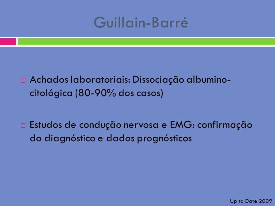 Guillain-Barré Achados laboratoriais: Dissociação albumino- citológica (80-90% dos casos)