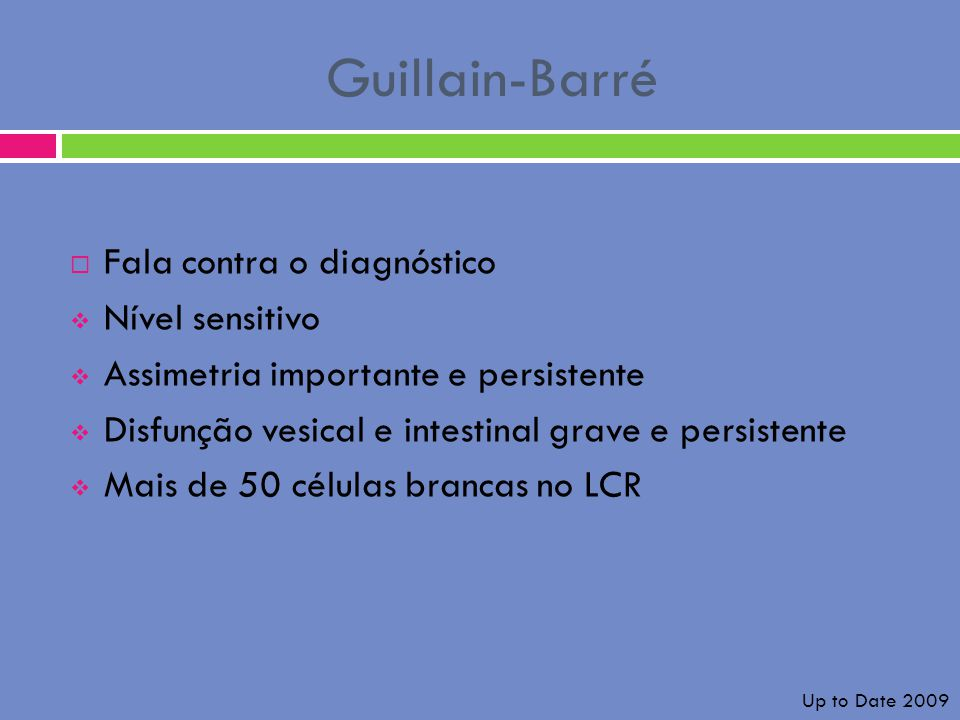 Guillain-Barré Fala contra o diagnóstico Nível sensitivo