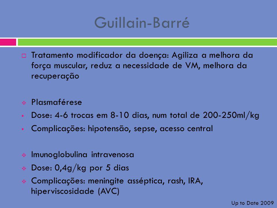 Guillain-Barré Tratamento modificador da doença: Agiliza a melhora da força muscular, reduz a necessidade de VM, melhora da recuperação.
