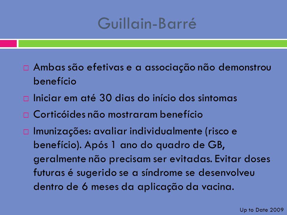 Guillain-Barré Ambas são efetivas e a associação não demonstrou benefício. Iniciar em até 30 dias do início dos sintomas.