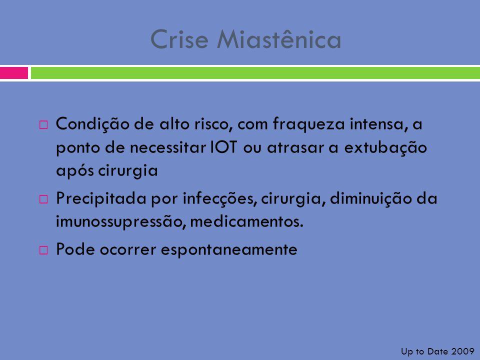 Crise Miastênica Condição de alto risco, com fraqueza intensa, a ponto de necessitar IOT ou atrasar a extubação após cirurgia.