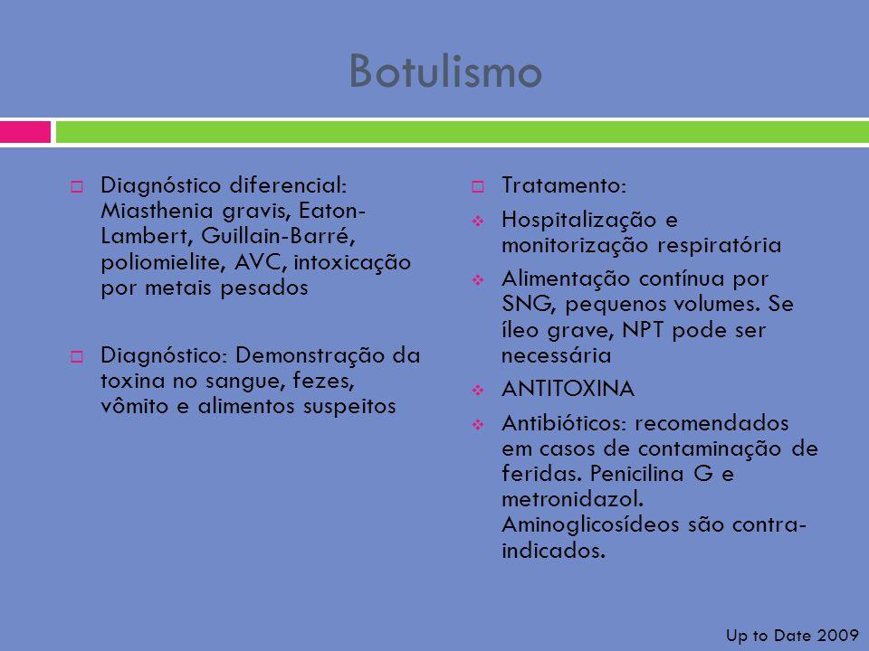 Botulismo Diagnóstico diferencial: Miasthenia gravis, Eaton- Lambert, Guillain-Barré, poliomielite, AVC, intoxicação por metais pesados.
