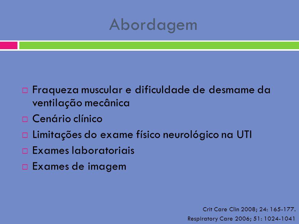 Abordagem Fraqueza muscular e dificuldade de desmame da ventilação mecânica. Cenário clínico. Limitações do exame físico neurológico na UTI.