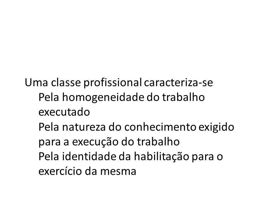 Uma classe profissional caracteriza-se