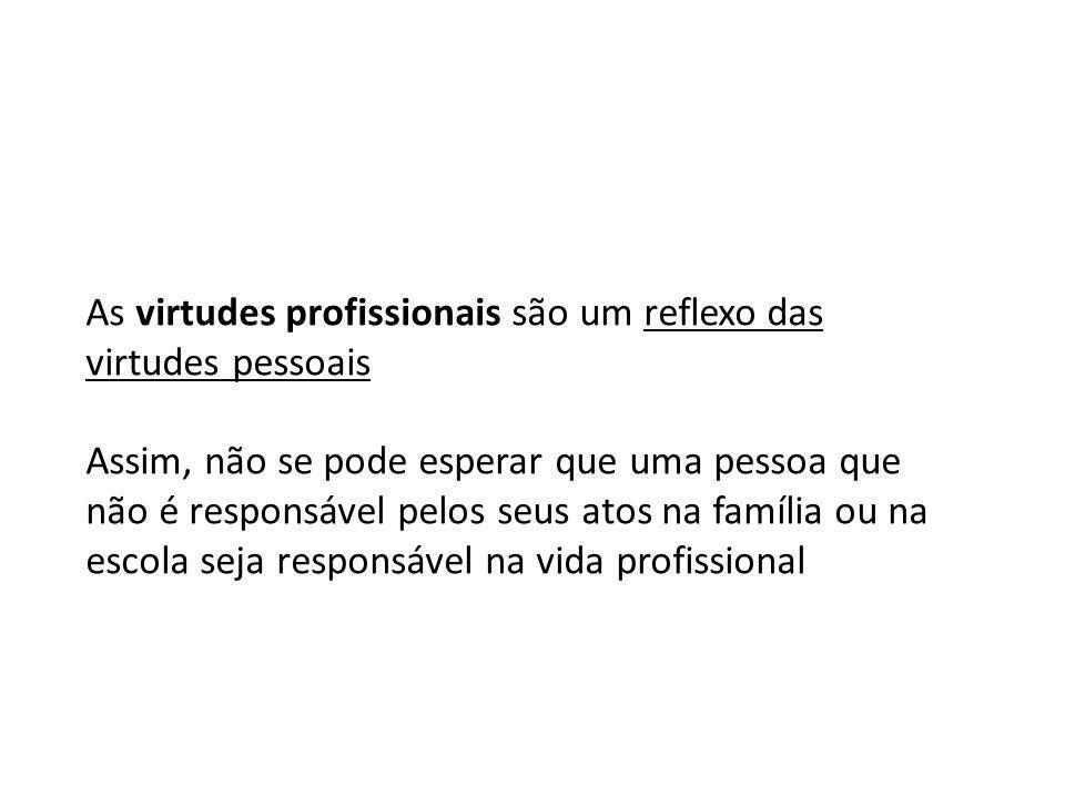 As virtudes profissionais são um reflexo das virtudes pessoais