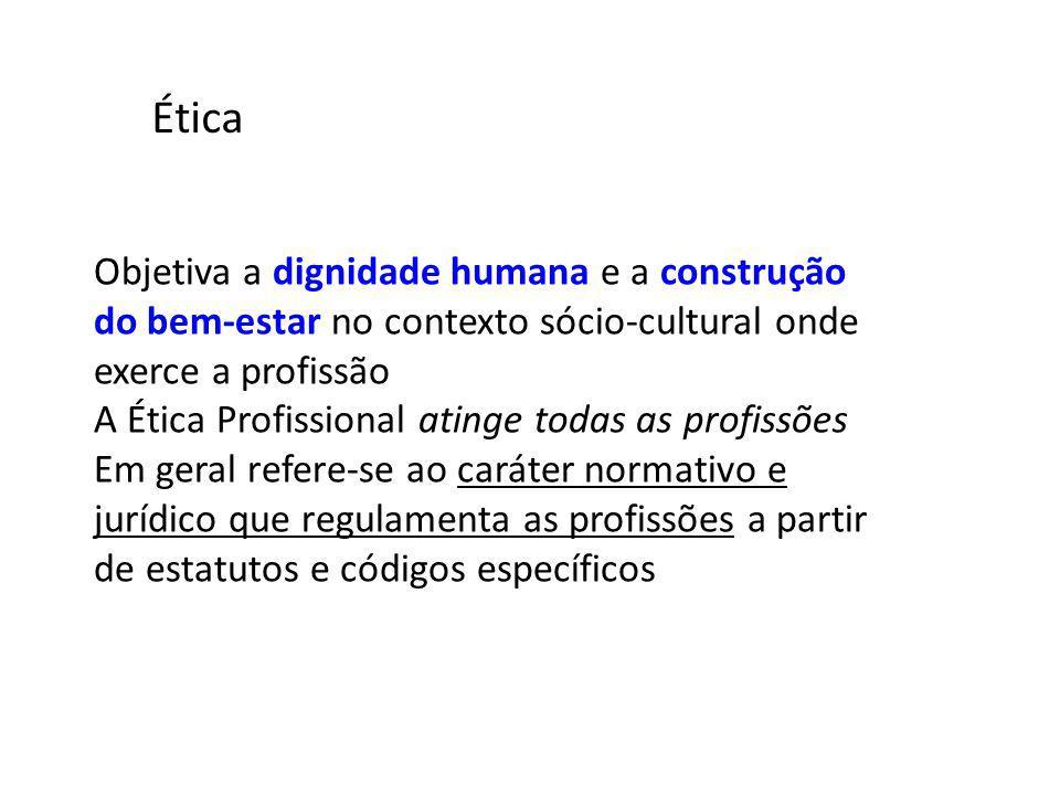Ética Objetiva a dignidade humana e a construção do bem-estar no contexto sócio-cultural onde exerce a profissão.