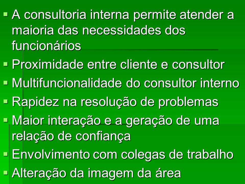 A consultoria interna permite atender a maioria das necessidades dos funcionários