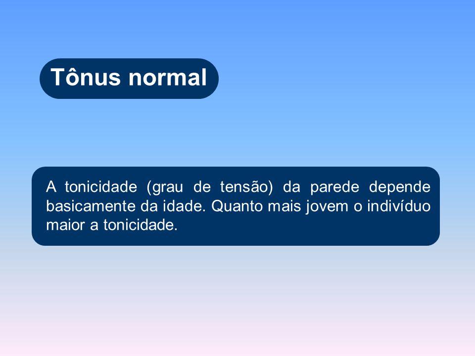 Tônus normal A tonicidade (grau de tensão) da parede depende basicamente da idade.