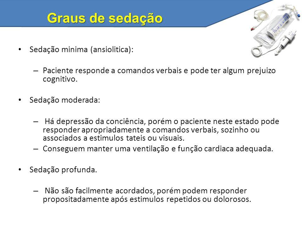 Graus de sedação Sedação minima (ansiolitica):