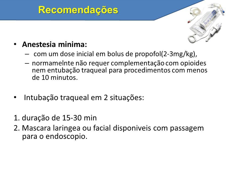 Recomendações Anestesia minima: Intubação traqueal em 2 situações: