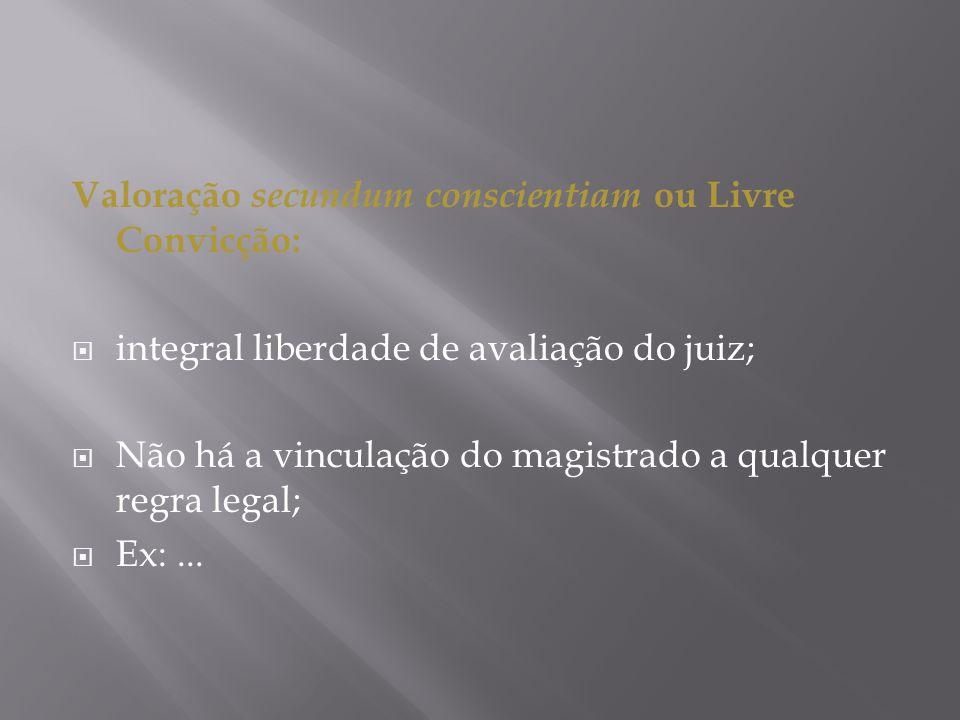 Valoração secundum conscientiam ou Livre Convicção:
