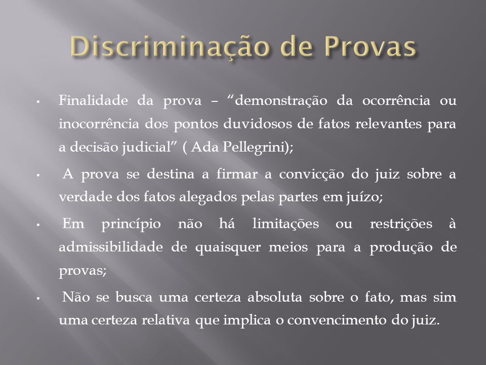 Discriminação de Provas
