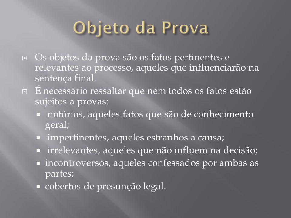 Objeto da Prova Os objetos da prova são os fatos pertinentes e relevantes ao processo, aqueles que influenciarão na sentença final.