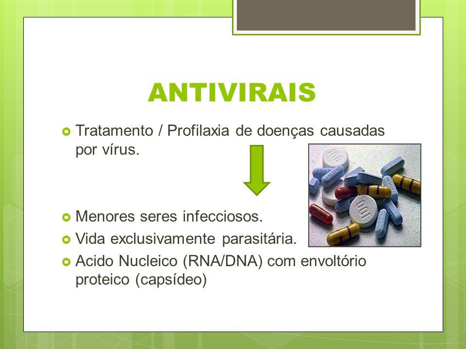 ANTIVIRAIS Tratamento / Profilaxia de doenças causadas por vírus.