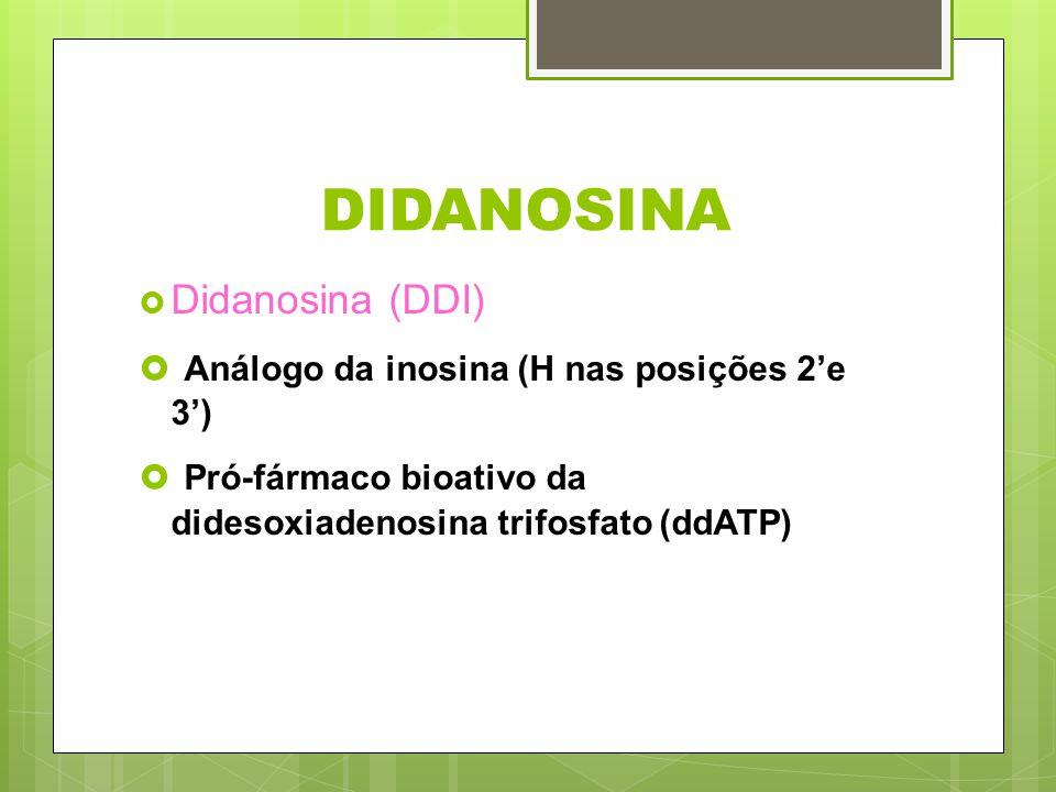 DIDANOSINA Análogo da inosina (H nas posições 2'e 3')