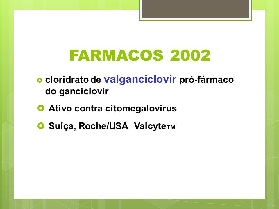 FARMACOS 2002 Ativo contra citomegalovirus Suíça, Roche/USA ValcyteTM