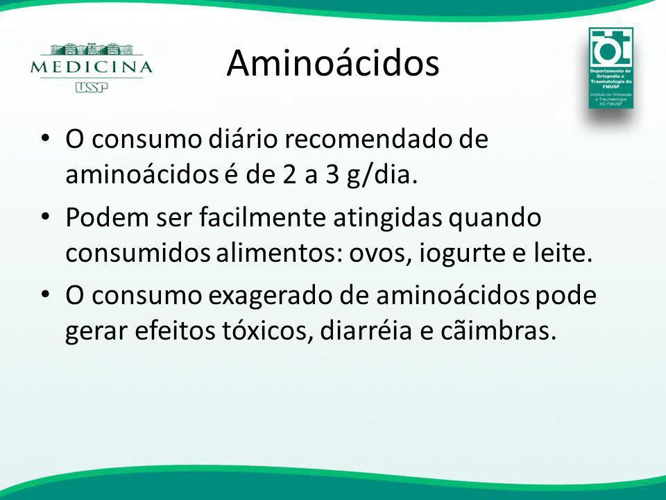 Aminoácidos O consumo diário recomendado de aminoácidos é de 2 a 3 g/dia.