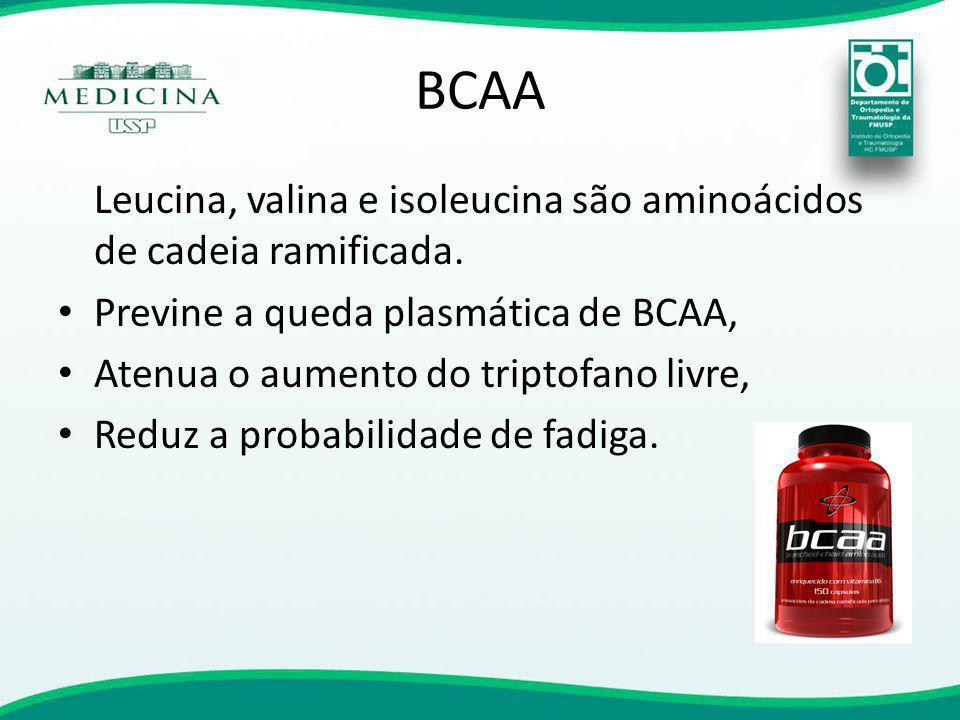 BCAA Leucina, valina e isoleucina são aminoácidos de cadeia ramificada. Previne a queda plasmática de BCAA,
