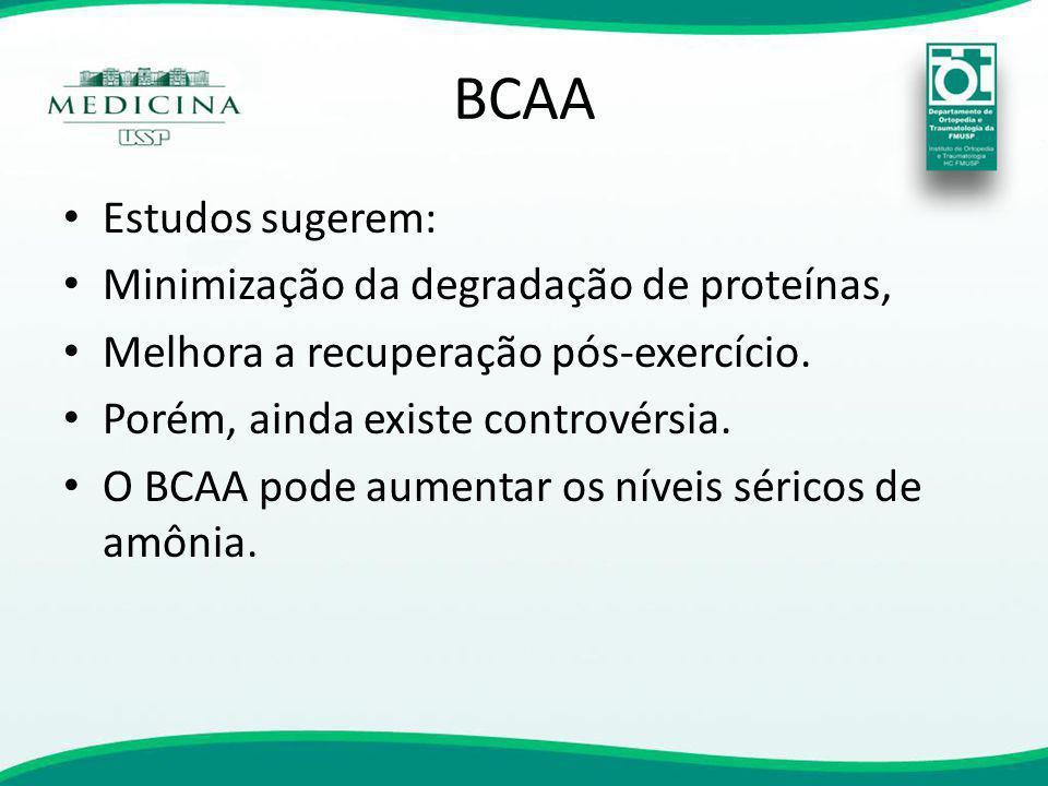 BCAA Estudos sugerem: Minimização da degradação de proteínas,