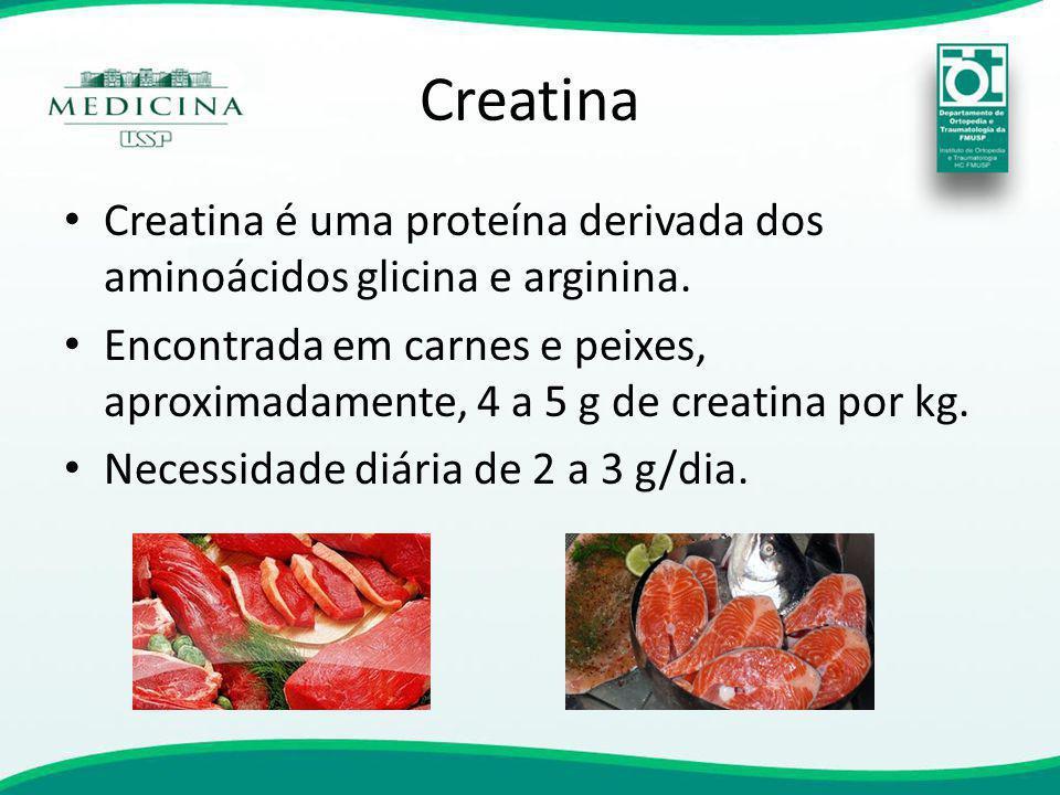 Creatina Creatina é uma proteína derivada dos aminoácidos glicina e arginina.