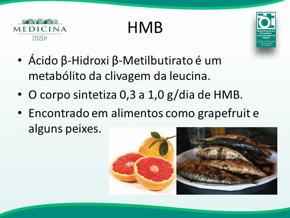 HMB Ácido β-Hidroxi β-Metilbutirato é um metabólito da clivagem da leucina. O corpo sintetiza 0,3 a 1,0 g/dia de HMB.