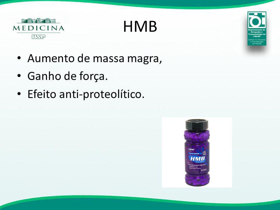 HMB Aumento de massa magra, Ganho de força. Efeito anti-proteolítico.