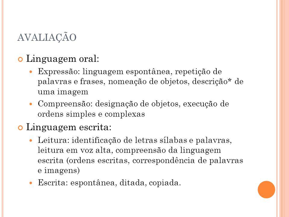 avaliação Linguagem oral: Linguagem escrita: