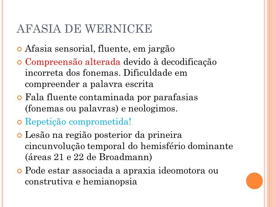 AFASIA DE WERNICKE Afasia sensorial, fluente, em jargão