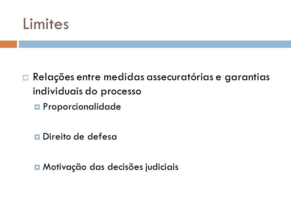Limites Relações entre medidas assecuratórias e garantias individuais do processo. Proporcionalidade.
