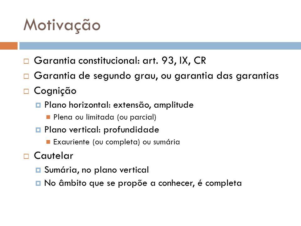 Motivação Garantia constitucional: art. 93, IX, CR