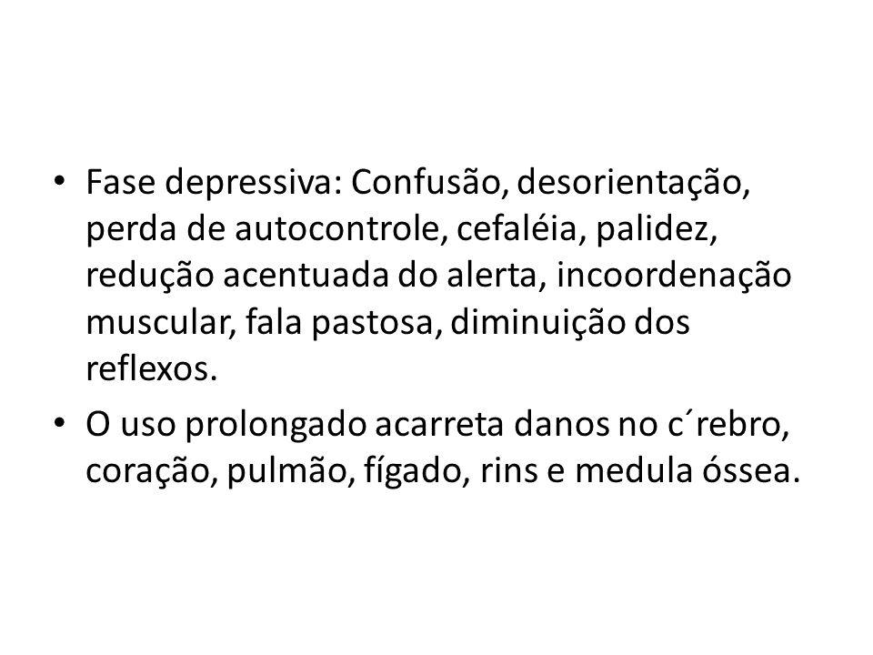 Fase depressiva: Confusão, desorientação, perda de autocontrole, cefaléia, palidez, redução acentuada do alerta, incoordenação muscular, fala pastosa, diminuição dos reflexos.