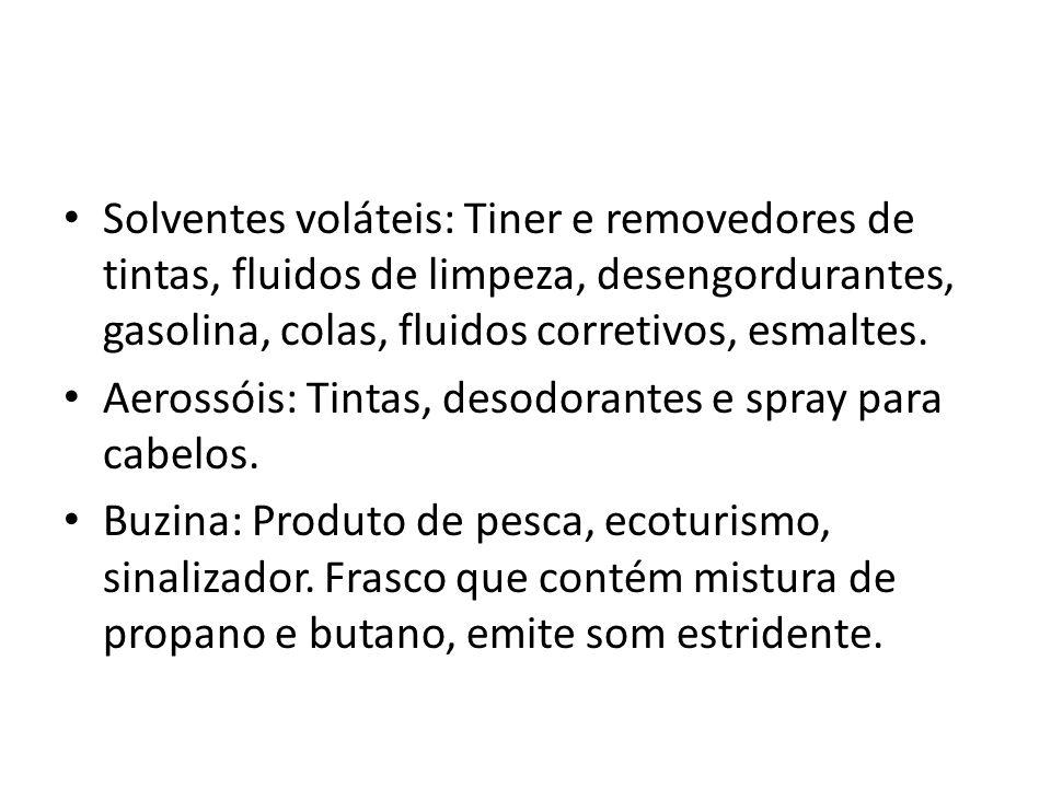 Solventes voláteis: Tiner e removedores de tintas, fluidos de limpeza, desengordurantes, gasolina, colas, fluidos corretivos, esmaltes.