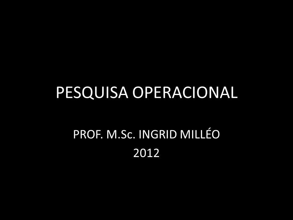 PESQUISA OPERACIONAL PROF. M.Sc. INGRID MILLÉO 2012