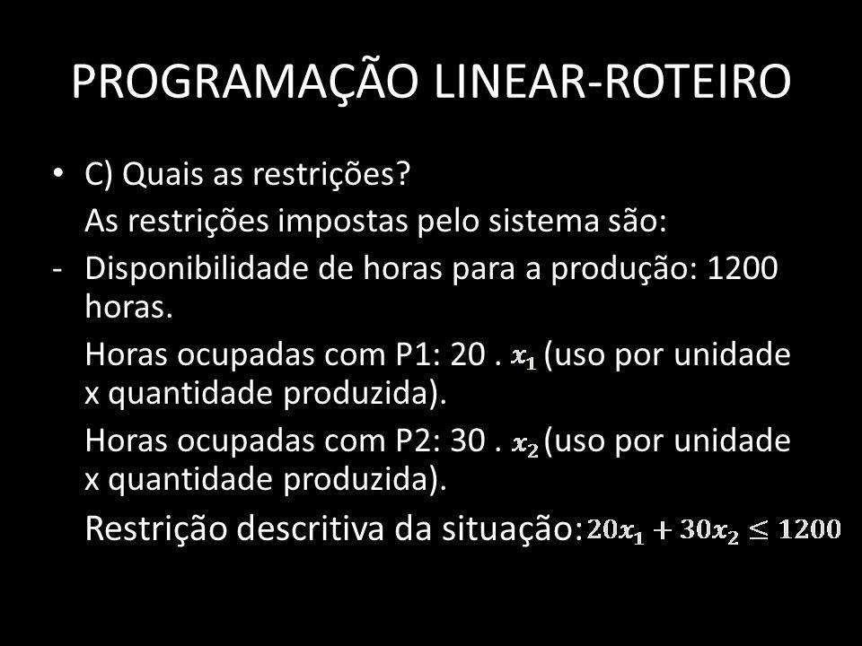 PROGRAMAÇÃO LINEAR-ROTEIRO