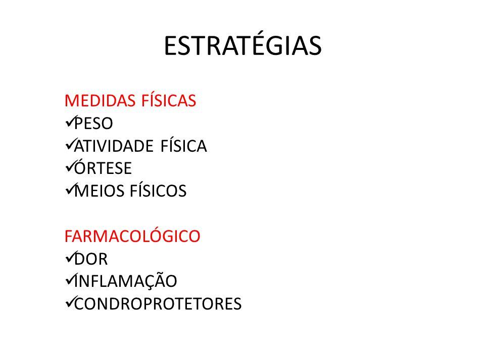 ESTRATÉGIAS MEDIDAS FÍSICAS PESO ATIVIDADE FÍSICA ÓRTESE MEIOS FÍSICOS