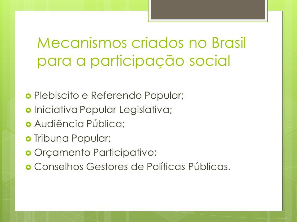Mecanismos criados no Brasil para a participação social