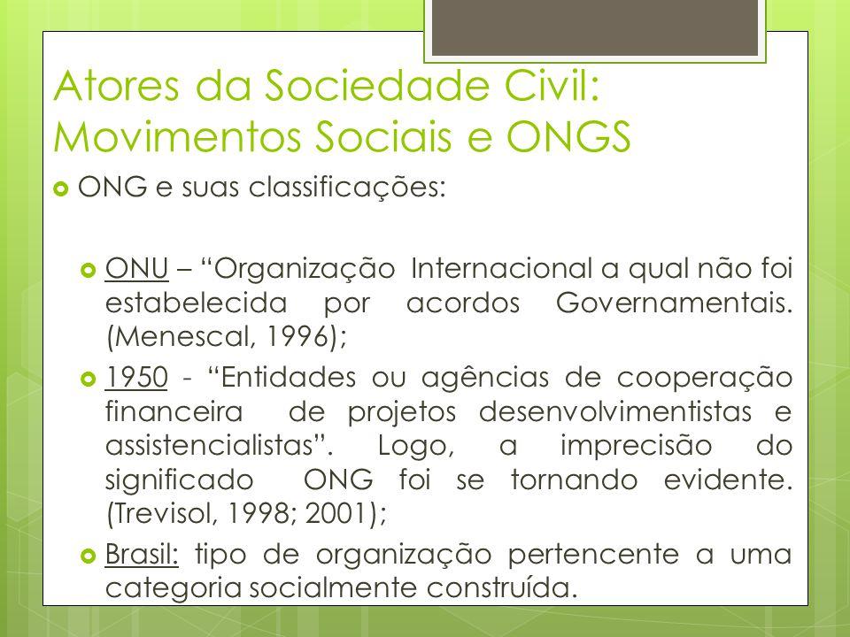 Atores da Sociedade Civil: Movimentos Sociais e ONGS