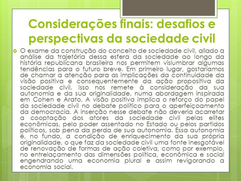 Considerações finais: desafios e perspectivas da sociedade civil