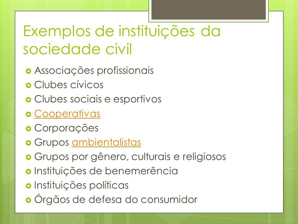 Exemplos de instituições da sociedade civil
