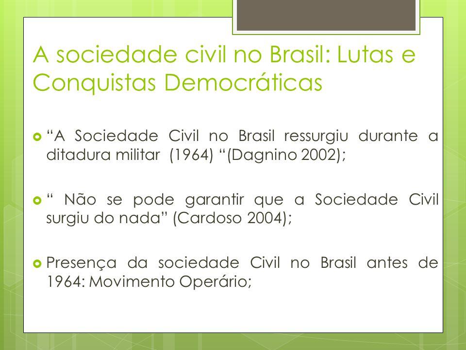 A sociedade civil no Brasil: Lutas e Conquistas Democráticas