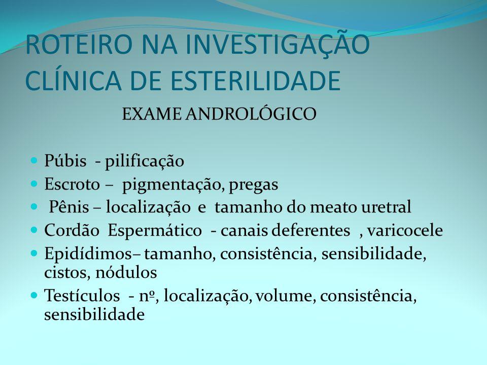 ROTEIRO NA INVESTIGAÇÃO CLÍNICA DE ESTERILIDADE