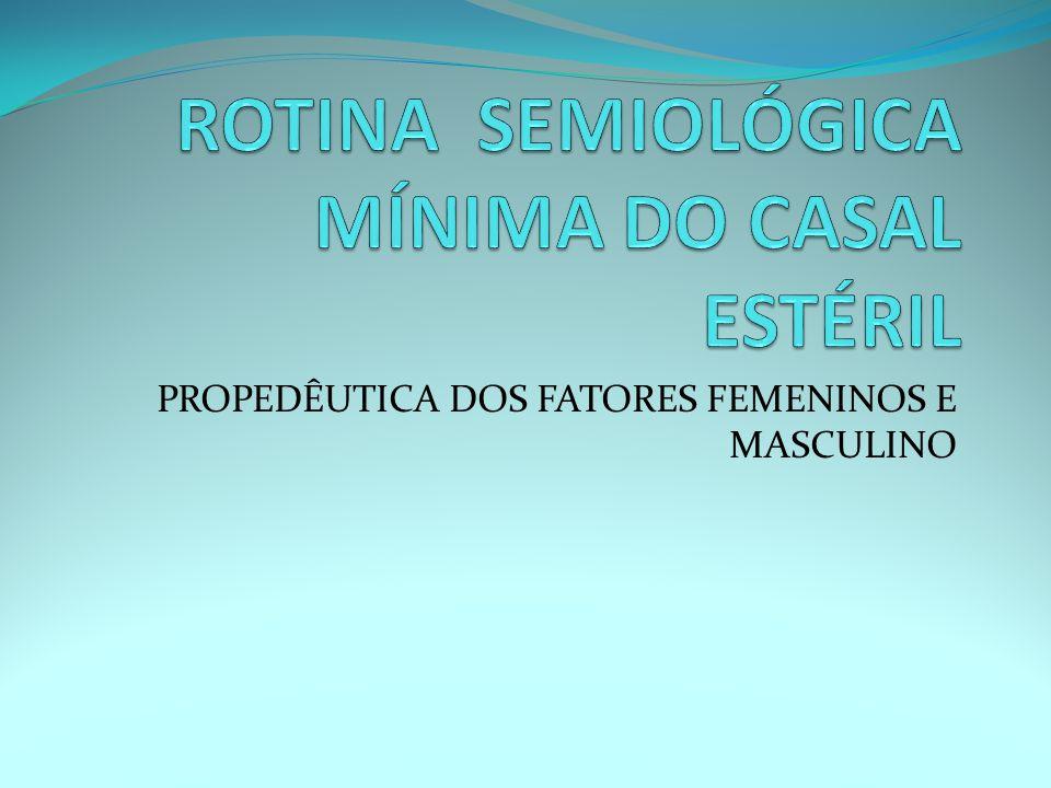 ROTINA SEMIOLÓGICA MÍNIMA DO CASAL ESTÉRIL