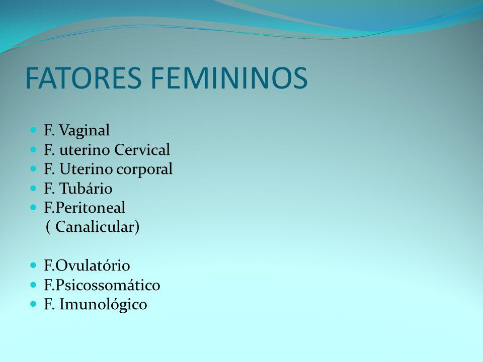 FATORES FEMININOS F. Vaginal F. uterino Cervical F. Uterino corporal