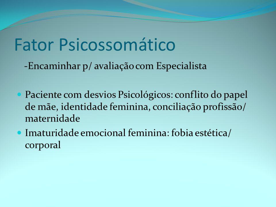 Fator Psicossomático -Encaminhar p/ avaliação com Especialista